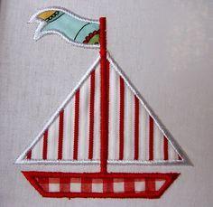 Summer Boat - machine embroidery applique design