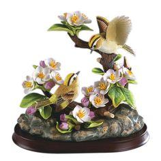 ANDREA BY SADEK Porcelain Golden Crowned Kinglet Family Figurine Bird Statue *