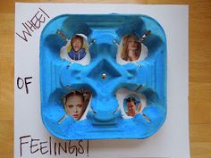 Wheel of Feelings made from a drink carrier. Clever!