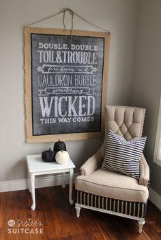 wall hangings, art boards, sister suitcas, fall mantels, chalkboard art, chalkboard decor, halloween ideas, halloween diy, chalk art