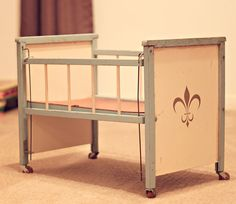 look at this awesome vintage doll crib i just posted in my shop! it's so precious.