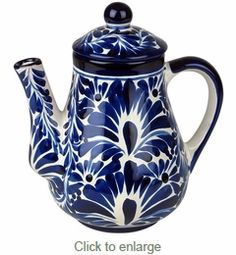 Talavera Blue & White Tea Pot with Lid