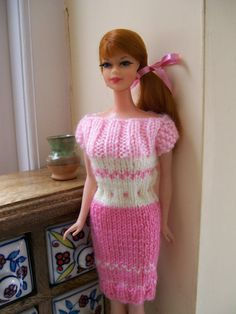 Barbie clothes - pink and yellow short sleeved dress