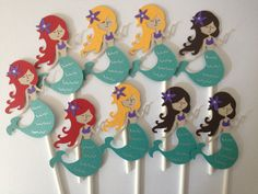Set Of 12 MERMAID Cupcake Toppers by MiaSophias on Etsy, $11.99