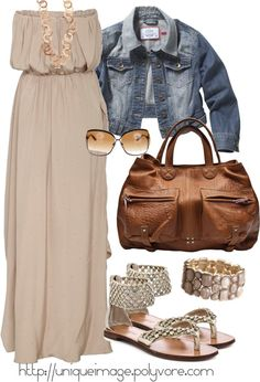 """Beige Maxi Dress"" by uniqueimage on Polyvore"