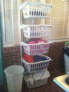 So many people have limited space in their laundries and this is a top idea. You can separate your whites, colours and towels easily. It's a great space saver and easy to do! Thanks for sharing Ken Hall Plumbers :)
