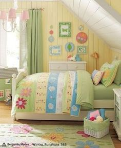 little girls, color, daisi, girl bedrooms, big girl rooms, little girl rooms, yellow walls, kid room, pottery barn