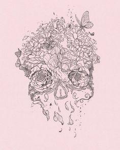 skulls, tattoo ideas, butterflies, tattoo patterns, pink, art flowers, a tattoo, skull art, sugar skull tattoos