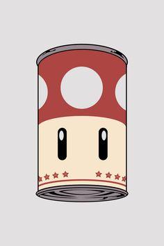 geek, art illustrations, food, art prints, video games, super mario, comics, soup cans, mushroom soup