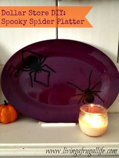 Dollar Store DIY Halloween Spider Plate #halloween #DIY #craft
