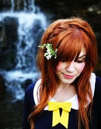 red hair with bangs