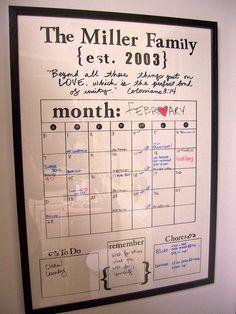 Dry erase framed calendar