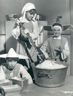 """Shelley Morrison, Sally Field & Marge Redmond in (Season 2, Episode 23: """"Cast Your Bread Upon The Waters"""" originally aired on March 20, 1969) The Flying Nun (1967-70, ABC)"""