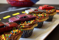 #Birthday party #cupcake idea: top with confetti frosting and Hot Wheels or Matchbox cars.
