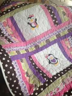 Pink purple green and brown penguin baby girl by sewsosweetdesigns, $135.00