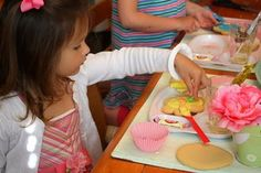 great idea...use divided plates for kids cookie decorating...and a big paint brush for frosting!