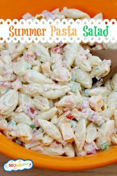 Recipe for Summer Pasta Salad - It's hot out, and you want a refreshing cold dish. It's a light side, but also filling and chock-full of fresh summertime veggies!