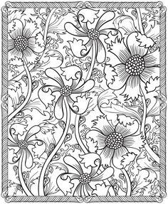 Intricate Flowers flower prints, dover public, adult coloring printables, floral designs, adult coloring pages free, free printable zentangle pages, printables free adult coloring, coloring books, free adult coloring pages