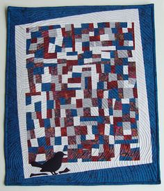 """""""OUTSIDE THE CAGE""""  Wall Hanging. 21""""x17"""" Machine Pieced, Machine Applique, Echo Quilting.  QUILTS BY MARISELA."""