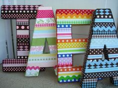 ribbon wrapped letters? simple and amazing!!! ---maybe a ribbon or two off the bottom for a bow holder???