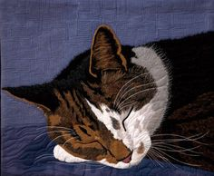 08c-AMiniature amazing details in this cat quilt