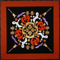 Circle of Friends #3 - Goofy Ghosts Pattern by The Quilted Lizard at KayeWood.com. These ghosts are having way too much fun to scare anyone. Come join the party of black cats, pumpkins, owls, candy corn, purple bats, and broomsticks.  Simple straight-stitch applique is done at the quilting stage, which eliminates the need for a stabilizer. Easily adapted to your favorite method of machine or hand applique.  http://www.kayewood.com/item/Circle_of_Friends_3_Goofy_Ghosts_Pattern/3480 $9.00