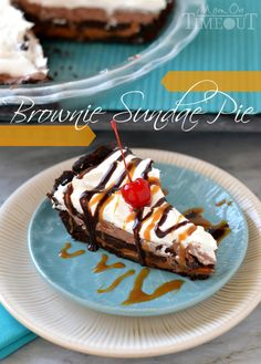 Brownie Sundae Pie from MomOnTimeout.com | This delectable pie starts with a brownie crust and just gets better from there! #IScream4ID #summer #recipe