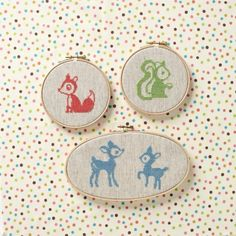 These simple woodland animal motifs make great projects for newbie stitchers and veterans alike