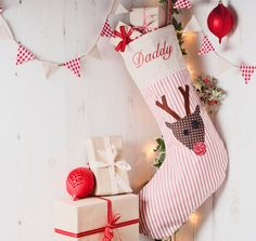 Adorable applique reindeer Christmas stocking.