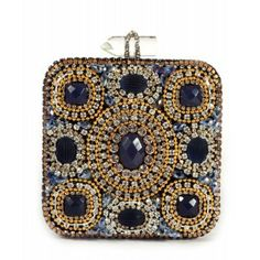Bolso de fiesta cuadrado cristales Swarovski dorado y azul www.sanci.es
