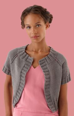 Simple Raglan Cardi - this short sleeved raglan sweater is simple to knit and makes an excellent layering piece (S-2X)