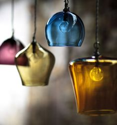 hand blown glass light pendants.