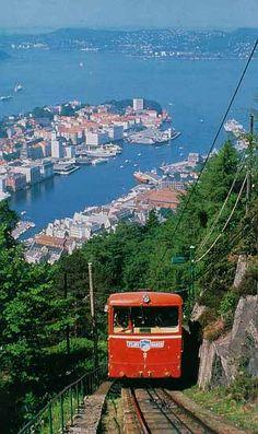 Bergen, Norway. Oche!  I hope the breaks don't go out. Lo it is beautiful
