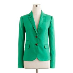 In love with this jacket! jacket, mint green, j crew, white shirts, blazers, kelly green, dressing up, schoolboy blazer, linen