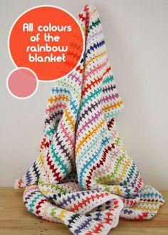 Striped crochet blanket rainbow colours
