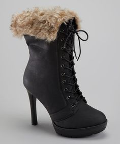 Black Faux Fur Lace-Up Boot by Bucco on