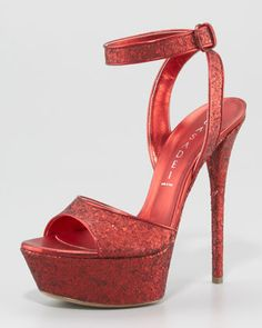 Glitter Ankle-Wrap Sandal by Casadei at Neiman Marcus.