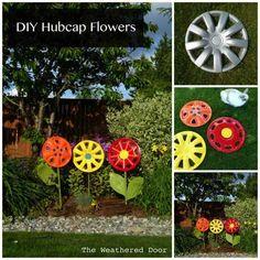 DIY Hubcap Flower Garden Art