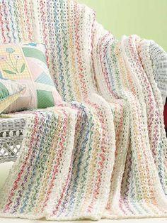 Crochet 'n' Weave Mile-a-Minute Summer Stripes Afghan