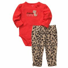 2-Piece Bodysuit Pant Set from carters.com - Love red and leopard. Too cute