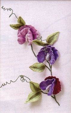 I ❤ ribbon embroidery . . . Enlarged picture of MC Sweet Peas ~By Inna Bird (repinned from Carolyn Kniess) original from:(http://innetta.gallery.ru/watch?ph=OAp-eioDL)
