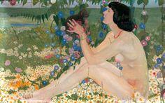italian artist, 1920, art paintings, paesaggio fiorito, cadorin 1892