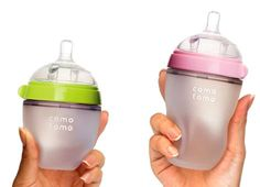 Really great new silicone baby bottles to help make the transition from boob to bottle a little easier.