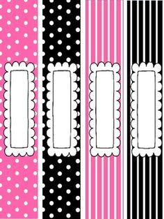 Pink and Black Binder Covers and Spine Labels!