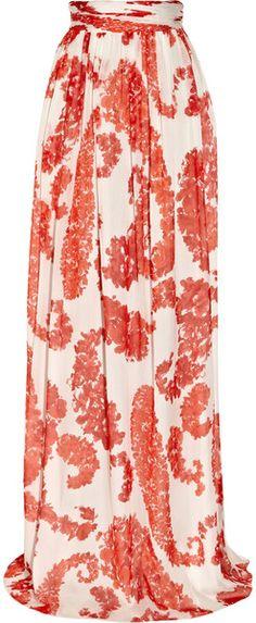 Floral-Print Silk-Chiffon Maxi Skirt - cute (: