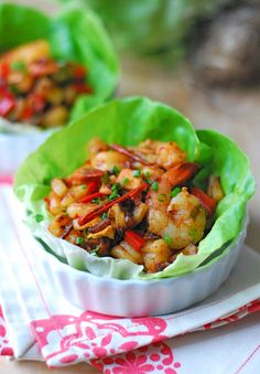 Chipotle Pineapple Shrimp Lettuce Cups