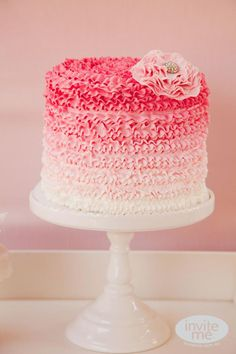 pink ombre ruffle cake!