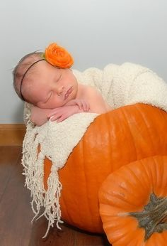 pumpkin baby #fall #autumn #baby #pumpkin #newbornbaby @James Barnes Barnes Barnes Kenny