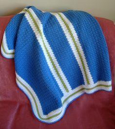 Color Blocked Stripes Baby Blanket - CAP's Crochet & Crafts