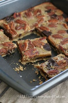 Low Carb Chocolate Pecan Pie Bar Recipe | All Day I Dream About Food.  6 carb each